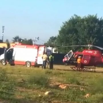 Homem ferido nos trilhos do ramal Saracuruna é socorrido de helicóptero