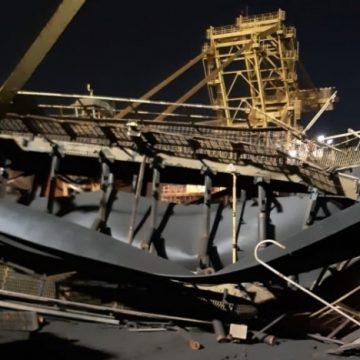 Estrutura da CSN desaba no Porto de Itaguaí, em Sepetiba, e deixa funcionários feridos