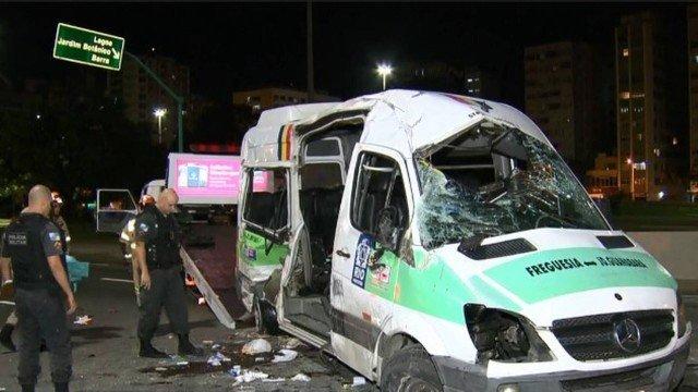 Van que deixou oito feridos tem dez multas por excesso de velocidade apenas este ano
