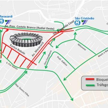 Veja esquema especial de trânsito para jogo de Flamengo e Grêmio no Maracanã nesta quarta-feira