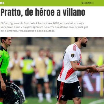 """""""Olé"""" chama derrota do River de """"pior final"""" e destaca erro de Pratto: """"De herói a vilão"""""""