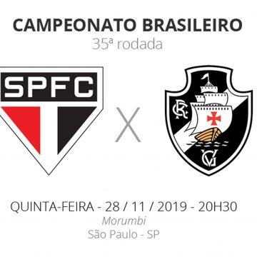 São Paulo x Vasco: veja onde assistir, escalações, desfalques e arbitragem