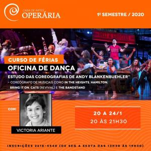 Victoria Ariante ministrará curso de dança na Casa de Artes Operária em São Paulo