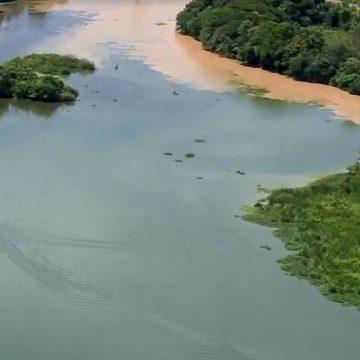 Despejo de esgoto irregular muda coloração da água em afluentes do Rio Guandu, que abastece o RJ