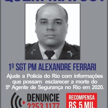 Disque Denúncia divulga cartaz para identificar assassinos de PM na Praça da Bandeira, na Zona Norte do Rio