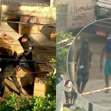 Imagens mostram roubo de carga e fuga de bandidos em comunidade na Baixada Fluminense