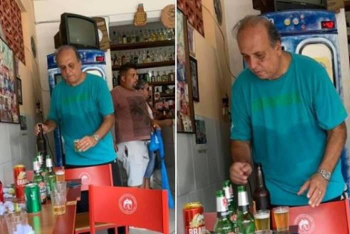Réu na Lava Jato, Pezão é flagrado em bar bebendo cerveja em Piraí