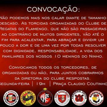 """Torcidas organizadas do Flamengo convocam para protesto: """"Não podemos nos calar"""""""