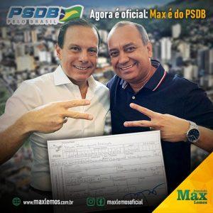 ELEIÇÕES 2020: Agora é oficial: Max Lemos é o mais novo filiado do PSDB