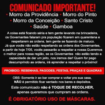 Tráfico impõe toque de recolher e uso obrigatório de máscaras em favelas do Rio durante a pandemia