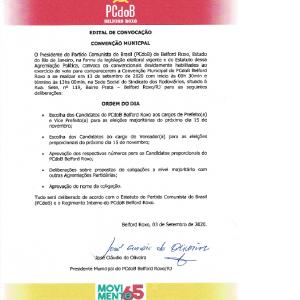 EDITAL DE CONVOCAÇÃO DE CONVENÇÃO PCDOB BELFORD ROXO