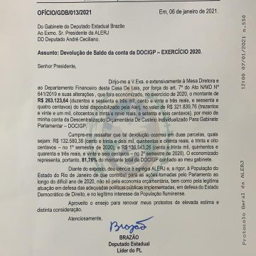 Deputado Estadual Pedro Brazão devolve aos cofres públicos o valor de R$ 268.191,23