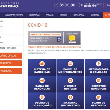 Prefeitura de Nova Iguaçu lança página em seu site com informações sobre a Covid-19 na cidade