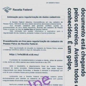 """NOVO ALERTA!""""Golpistas voltam a enviar carta em nome da Receita Federal para roubar dados fiscais e bancários"""""""