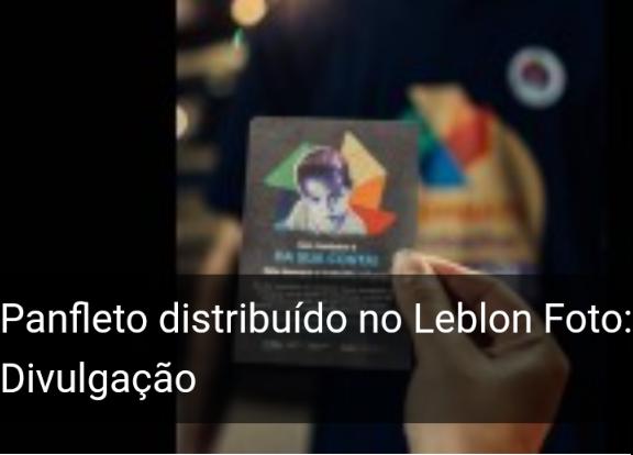 """EXEMPLO:""""Comerciantes distribuem panfletos contra trabalho infantil no Leblon"""""""